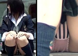 《個人撮影,JK,盗撮》美少女JKちゃんの座りP!股間にズームして幼いロリパンツをじっくり長時間盗撮!